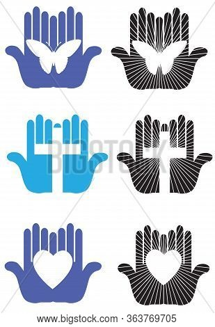 Graphic Designs Variety Of Worship And Caring Hands With Various Iconic Shapes Including Christian C