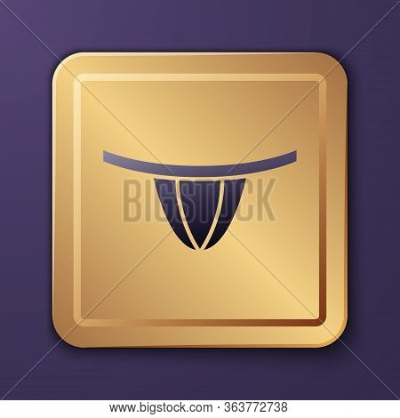 Purple Woman Panties Icon Isolated On Purple Background. Girls Underpants. Lady Lingerie. Gold Squar