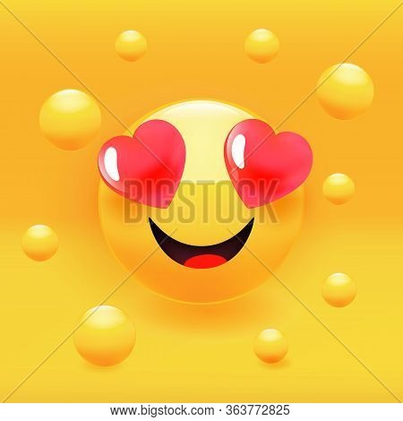 Loving Smile Icon With Heart Eyes, Characterising A Love Emoticon. Premium Vector Illustration.