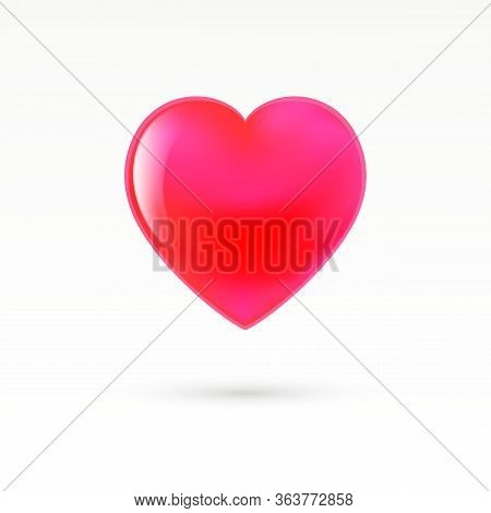 Red Glossy Heart With Shadow. Made In Cartoon Style. Like, Love Symbol. Premium Vector Illustration.
