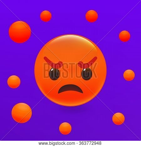 Angry Emoticon, Red Offensive Smile Ball. Premium Vector Illustration.