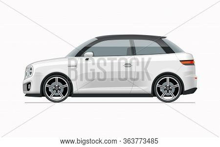 Modern Compact City Car Mockup. Side View Of Realistic Small White Noname Car Isolated On White Back