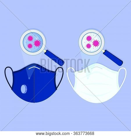 Two Types Of Medical Masks: Surgical Face Mask And N95 Respirator. Virus Contaminating The Masks And