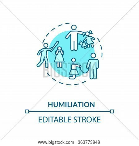 Humiliation Concept Icon. Children And Partner Abuse And Mistreatment Idea Thin Line Illustration. D