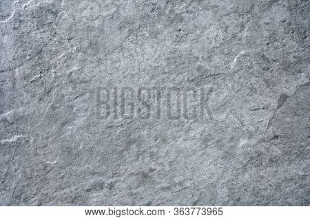 Grey Stone Texture Cement Concrete, Rock Plastered Wall Stucco, Painted Flat Fade Background Of Marb