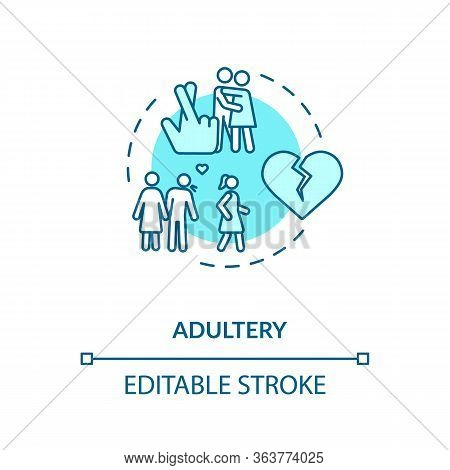 Adultery Concept Icon. Cheating Idea Thin Line Illustration. Boyfriend And Girlfriend Break Up. Part