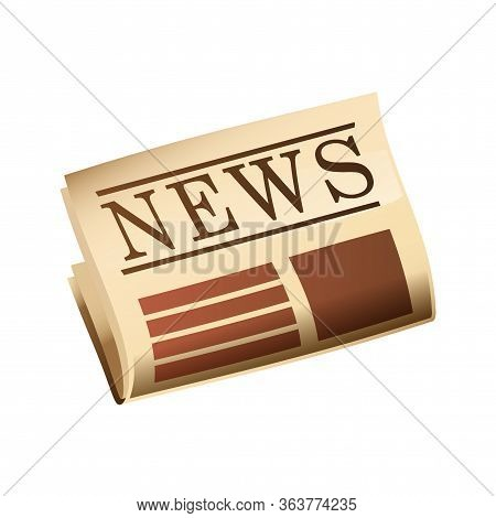 Newspaper With Header Isolated Cartoon Design. Tabloid With Breaking News Vector Illustration In Fla