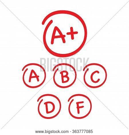 Grade Results Set. Hand Drawn Vector Grade In Red Circle. Vector Illustration.
