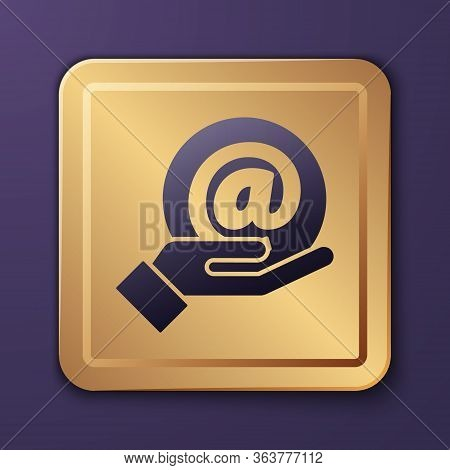 Purple Mail And E-mail In Hand Icon Isolated On Purple Background. Envelope Symbol E-mail. Email Mes