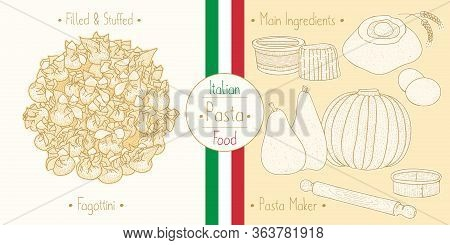 Cooking Italian Food Stuffed Fagottini Pasta With Filling And Main Ingredients And Pasta Makers Equi