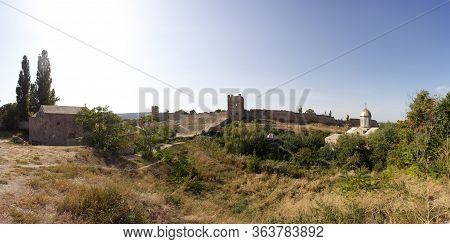 Genoese Fortress Feodosia Panorama. The Ruins Of An Ancient Fortress Of The Xiv Century. Sights Of C