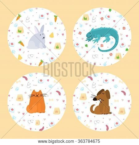 Pet Insurance Logo. Circle With Color Doodle Pets Inside. Pet Care, Veterinary Banner, Background, P