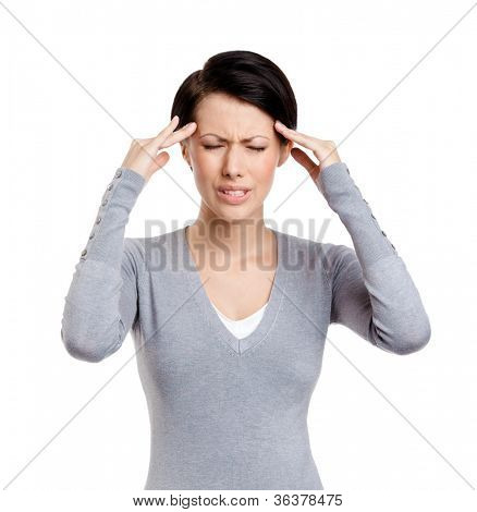 Upset girl tries to solve problems, isolated on white
