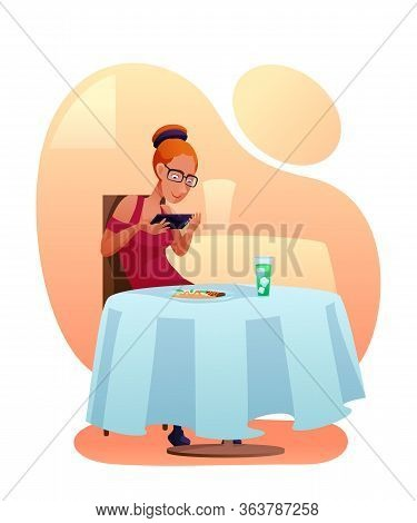 Woman Taking Food Picture Vector Illustration. Internet Blogger Sitting At Restaurant Table Flat Cha