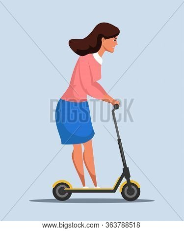 Businesswoman On Scooter Rushing To Work Cartoon. Worried Woman Office Worker In Formal Clothes Hurr