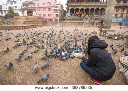 Kathmandu,nepal - 5 Jan 2016 : Local Nepalese People World Heritage Ancient Patan Durbar Square, Kat