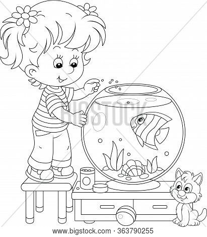 Friendly Smiling Cheerful Small Girl With Her Cute Kitten Feeding A Funny Striped Aquarium Butterfly