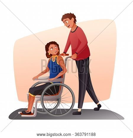 Young Man And Handicapped Lady. Caregiver Or Husband Strolling Disabled Woman Sitting In Wheelchair.