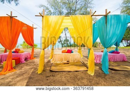 Colourful Pastel Elegant Decor Wedding Venue Set Up Outdoor With Orchid Flower And Colorful Table Sh