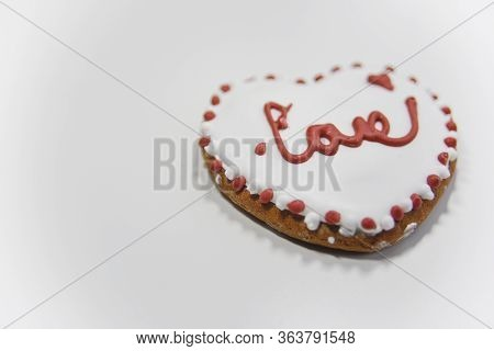 Closer Look At The Ginger Cookie With The Word Love. Selective Focus
