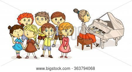 Children Chorus Performance Under Piano Accompaniment Isolated On White. Pianist Music. Kids Choral
