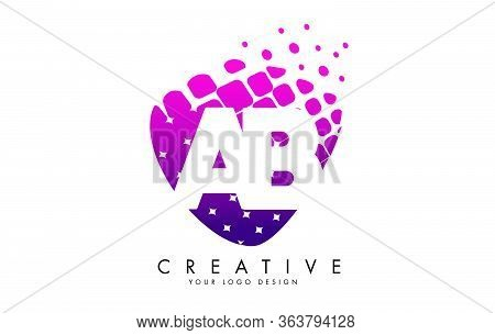 Letters Ab A B Design With Pink And Purple Shattered Blocks Vector Illustration. Pixel Art Of The A