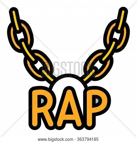 Rap Necklace Icon. Outline Rap Necklace Vector Icon For Web Design Isolated On White Background