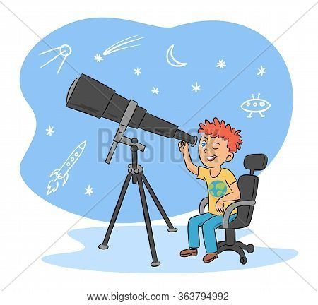 Kids Hobby And Cute Boy Astronomer With Telescope Cartoon. Astronomy Occupation. Children Science. C