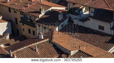 Florentine Rooftops. Aerial City Top View. Florence, Italy.