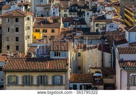 Florentine Rooftops And Windows. Aerial City Top View. Florence.