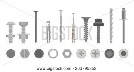 Flat Screw Construction Hardware Set Side And From Above View. Cartoon Silver Metallic Fasteners, Bo