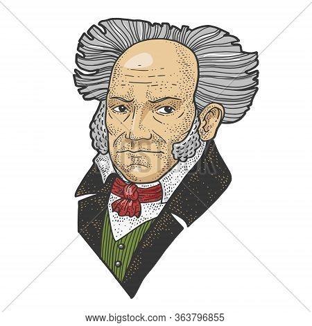 Arthur Schopenhauer Portrait Color Sketch Engraving Vector Illustration. T-shirt Apparel Print Desig
