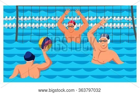 Players Sportsmen Team Athlete Characters Enjoying Water Polo Game Cartoon. Match Sporting Competiti