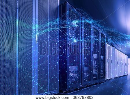 3d Rendering Concept Of Big Data Processing Center, Cloud Database, Station Of Future, Data Mining,