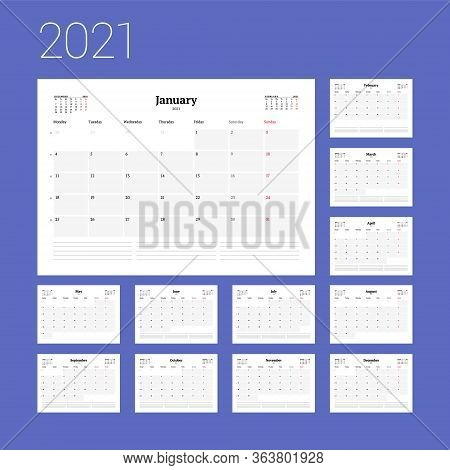 Calendar Template For 2021 Year. Business Planner. Stationery Design. Week Starts On Monday. Vector