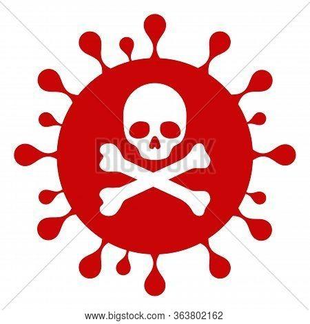 Vector Mortal Coronavirus Flat Icon. Vector Pictograph Style Is A Flat Symbol Mortal Coronavirus Ico
