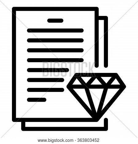 Diamond Expert Paper Icon. Outline Diamond Expert Paper Vector Icon For Web Design Isolated On White