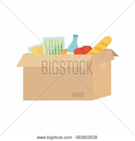 Open Cardboard Box With Food, Water, Asparagus, Baguette, Tomato, Mango. Food Delivery, Transportati