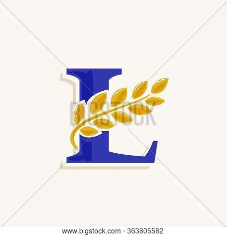 Letter L Logo With Laurel Wreath. Classic Serif Font With Line Shadow. Vector Icon Perfect For Bouti