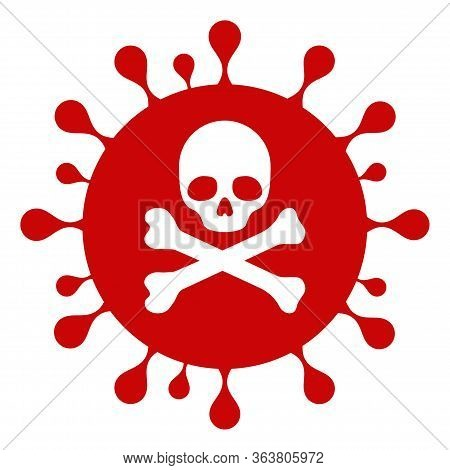 Raster Mortal Coronavirus Flat Icon. Raster Pictograph Style Is A Flat Symbol Mortal Coronavirus Ico