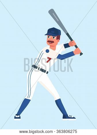 Happy Baseball Player Wearing Sportswear Holding Bat Isolated On Blue. Professional Game League Play