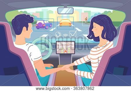 Autonomous Driving. Couple Riding Self-driving Car, Speaking And Holding Hands. Driver Keeping Hands