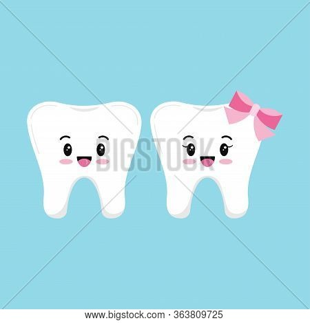 Cute Tooth Boy And Girl Emoji Vector Set Isolated On Blue Background. Collection Of Sweet And Funny