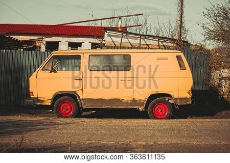 Russia Moscow April 27, 2020. Old Rusty Volkswagen Trasporter. Side View