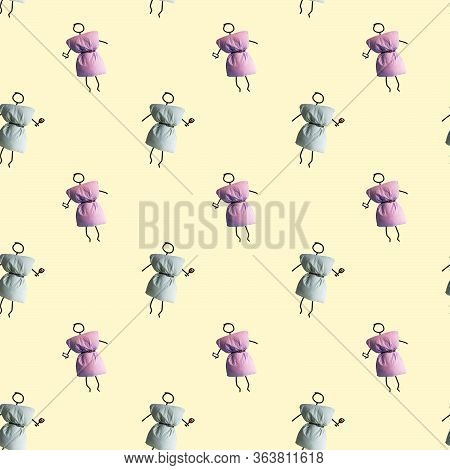 Funny Primitively Drawn Little Person Wearing Pillow Dress