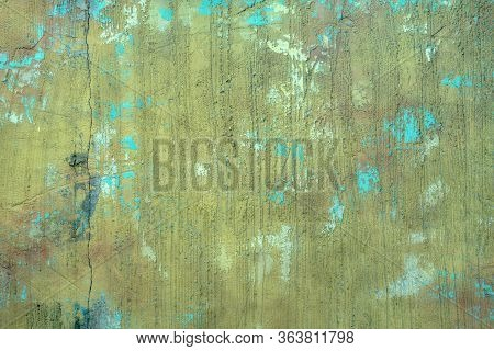Rugged Distressed Surface Wall With Color Blemishes