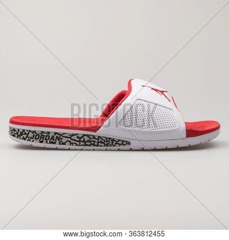 Vienna, Austria - February 19, 2018: Nike Jordan Hydro 3 Retro White And Red Sandal On White Backgro