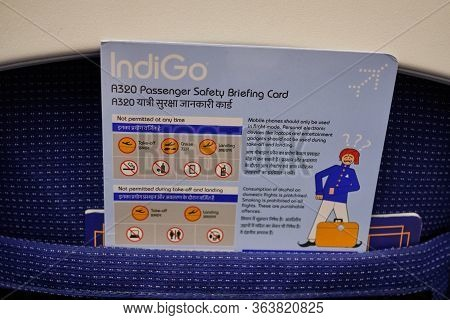 New Delhi / India - October 12, 2019: Passenger Safety Briefing Card On An Indigo Airbus A320 Commer