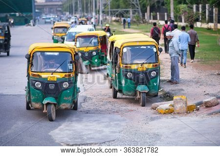 New Delhi / India - September 24, 2019: Tuk Tuks In The Street In New Delhi, India