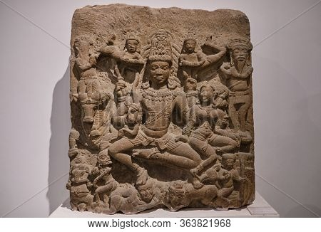Stone Relief Of Hindu God Shiva In The National Museum Of India In New Delhi